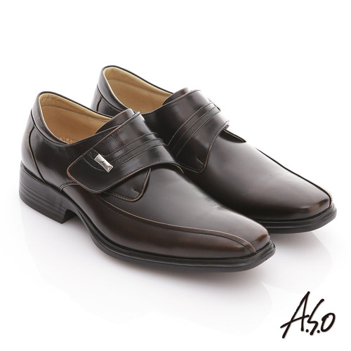 【A.S.O】頂極氣墊 全真皮雙色鏡面奈米紳士鞋(茶)