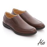 【A.S.O】頂極氣墊 全真皮寬楦縫線直套式紳士鞋(咖啡)
