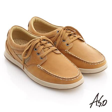 【A.S.O】彈力抗震系列 蠟感牛皮拼網格奈米休閒鞋(土黃)