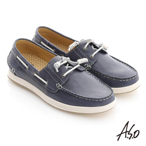~A.S.O~彈力抗震系列 蠟感牛皮奈米帆船休閒鞋^(深藍^)