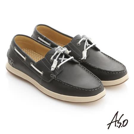 【A.S.O】彈力抗震系列 蠟感牛皮奈米帆船休閒鞋(黑)