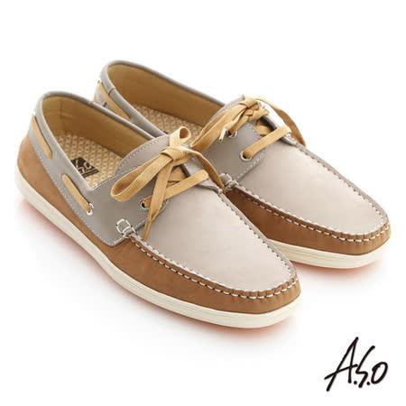 【A.S.O】活力勁步系列 雙質感牛皮綁帶奈米帆船休閒鞋(卡其)