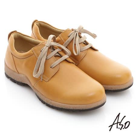 【A.S.O】雅痞休閒 蠟感牛皮奈米橡膠休閒鞋(黃)
