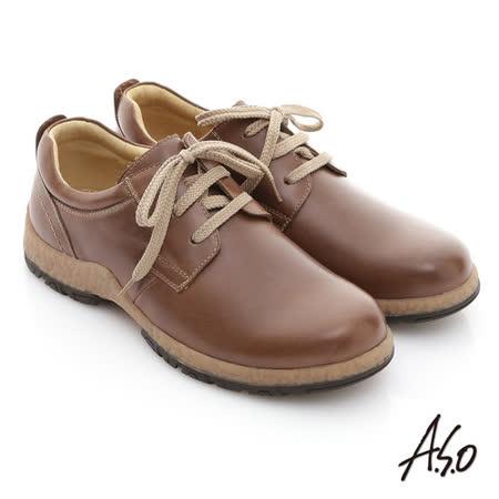 【A.S.O】雅痞休閒 蠟感牛皮奈米橡膠休閒鞋(咖啡)