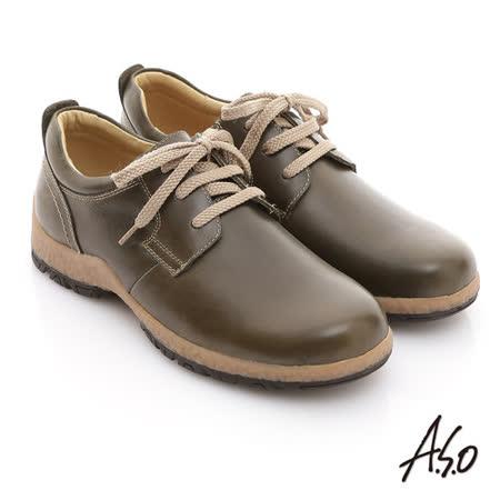 【A.S.O】雅痞休閒 蠟感牛皮奈米橡膠休閒鞋(墨綠)