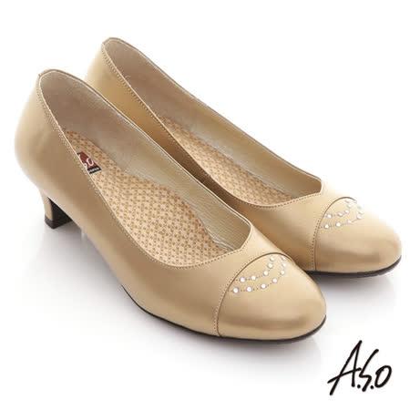 【A.S.O】舒活系列 光澤感牛皮貼鑽奈米窩心低跟鞋(卡其)