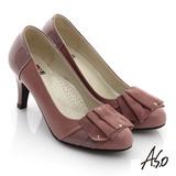 【A.S.O】立體幾何 鏡面牛皮拼接羊絨水鑽高跟鞋(粉)