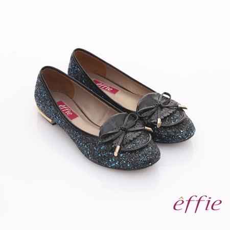 【effie】金屬裝飾 金蔥亮片鏡面牛皮細緻平底鞋(藍)