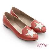 【effie】金屬裝飾 全羊皮星形鉚釘樂福鞋(紅)