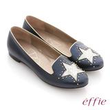【effie】金屬裝飾 全羊皮星形鉚釘樂福鞋(深藍)