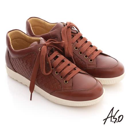 【A.S.O】活力勁步系列 油感牛皮編織造型綁帶船休閒鞋(茶)