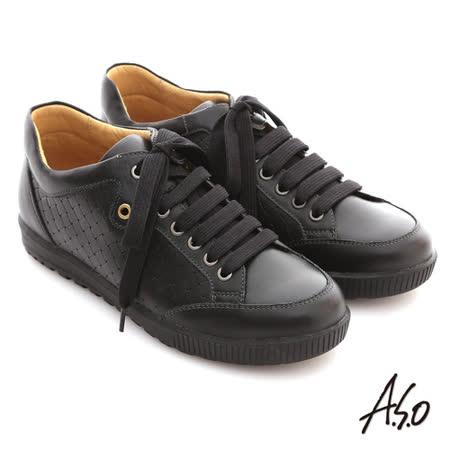 【A.S.O】活力勁步系列 油感牛皮編織造型綁帶船休閒鞋(黑)