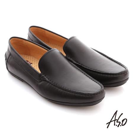 【A.S.O】 慵懶旅行系列 雙色感素面直套式休閒鞋(黑)