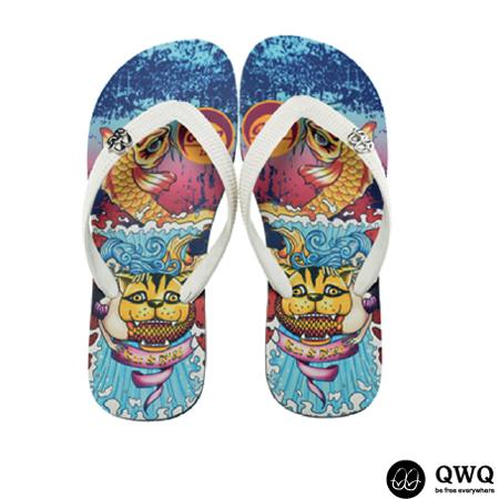 【QWQ】創意設計夾腳拖鞋-Cat Fish-黑a(男款)