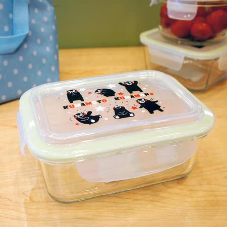 【百貨通】KUMAMON 熊本熊密扣式玻璃保鮮盒-長型(950ML)