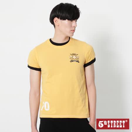 5th STREET 後染繡花短袖T恤-男-黃色