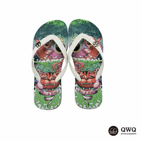 【QWQ】創意設計夾腳拖鞋-Cat Fish-黑b(男款)