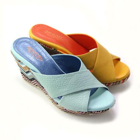 【GREEN PHOENIX】BIS-VITAL 寬版交叉義大利山羊皮楔型拖鞋
