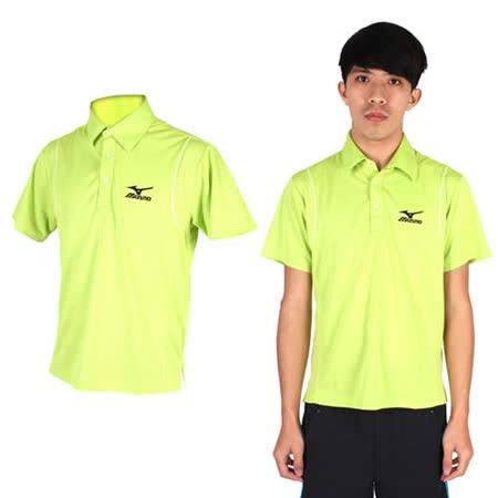 (男) MIZUNO 短袖POLO衫- 高爾夫球 立領 休閒 美津濃 淺綠黑