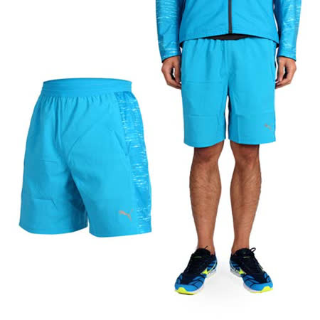 (男) PUMA NIGHTCAT 7吋運動短褲-慢跑 路跑 籃球短褲 水藍銀