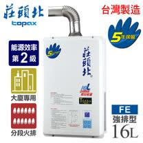 【莊頭北】16L數位恆溫分段火排強制排氣熱水器/TH-7166FE(LPG/FE式桶裝瓦斯)