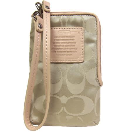 COACH 輕量尼龍皮革標手機袋(卡其金)