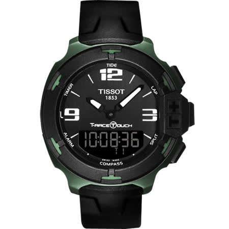 TISSOT T-RACE TOUCH 鋁合金多功能觸控腕錶-黑x綠/42mm T0814209705701