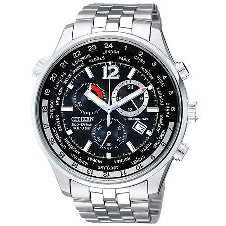 CITIZEN 光動能世界時區三環計時碼錶-黑/42mm AT0360-50E
