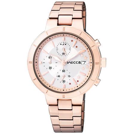 CITIZEN wicca 繁星女孩系列計時腕錶-銀x玫塊金/34mm BM2-225-11