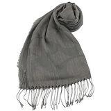 COACH 大C LOGO 羊毛混絲流蘇圍巾(灰)