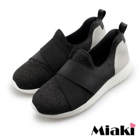 【Miaki】MIT 休閒鞋韓國時尚包鞋慢跑鞋 (黑色)