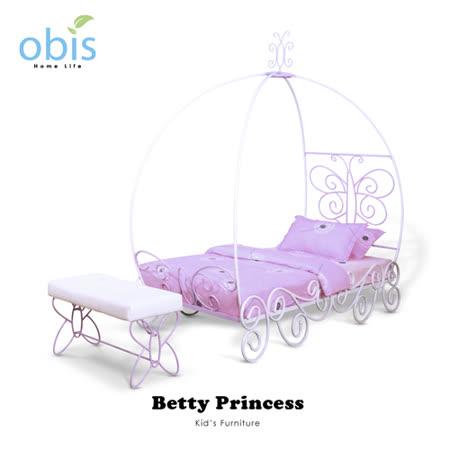 兒童家具/單人/床組/床架【obis】Kid's Neverland貝蒂公主系列 - 單人床架(含床墊)