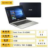 ASUS 華碩 K401UB-0032A6200U 14吋鏡面FHD i5-6200U NV940 2G獨顯 i5六代效能戰鬥筆電