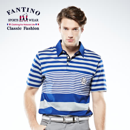 【FANTINO】男款 醒目焦點亮感POLO棉衫 (藍.芥綠) 531321-531322
