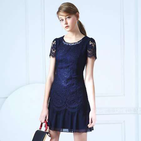 【麥雪爾】優雅鑽飾蕾絲剪接雪紡洋裝