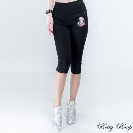 【Betty Boop貝蒂】膠印Betty口袋彈力七分褲(共二色)