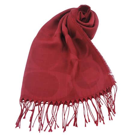 COACH 大C LOGO 羊毛混絲流蘇圍巾(紅)