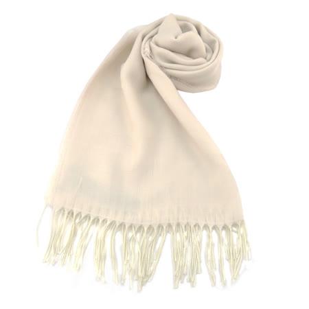 COACH 大C LOGO 羊毛混絲流蘇圍巾(米白)