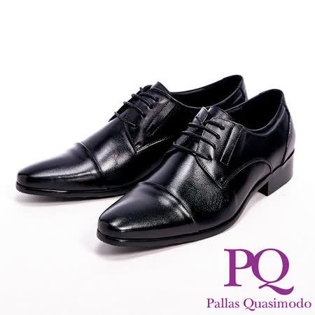 PQ(男)真皮壓褶紋紳士男皮鞋-黑