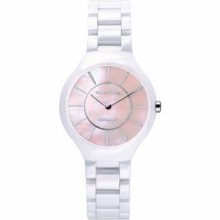 RELAX TIME RT33 嶄新系列陶瓷腕錶-粉貝x白/32mm RT-33-9L