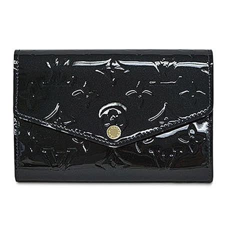 Louis Vuitton LV M90924 Sarah Compact 漆皮扣式短夾.黑_預購