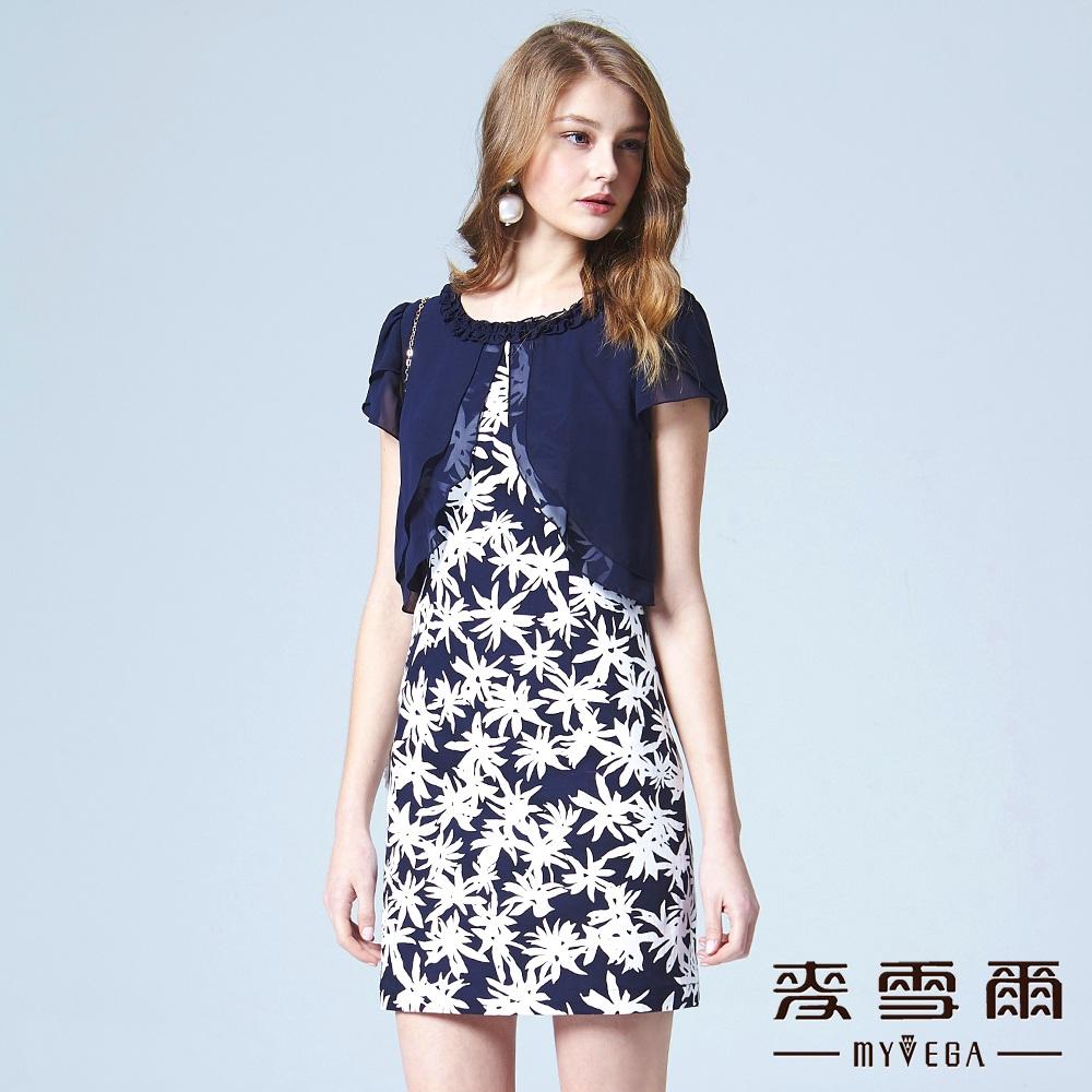 【麥雪爾】荷葉領雪紡剪接棉質印花洋裝