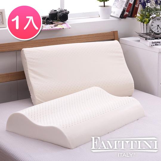 【義大利Famttini-舒雅幽境】大尺寸AA級波浪工學天然乳膠枕-1入
