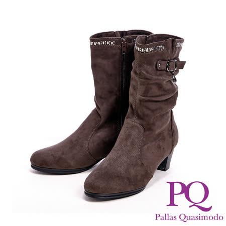PQ(女)麂皮感水滴型亮鑽中高筒女靴-咖(另有黑)