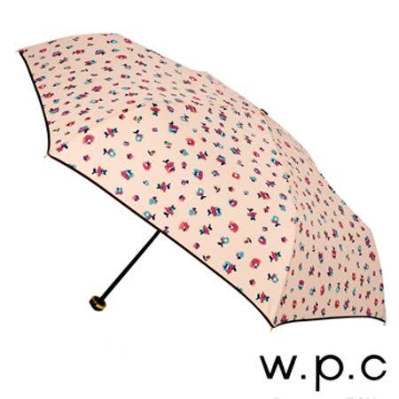 【w.p.c】浪漫夏槿*晴雨兩用輕量防風手開三摺傘 (粉橘)