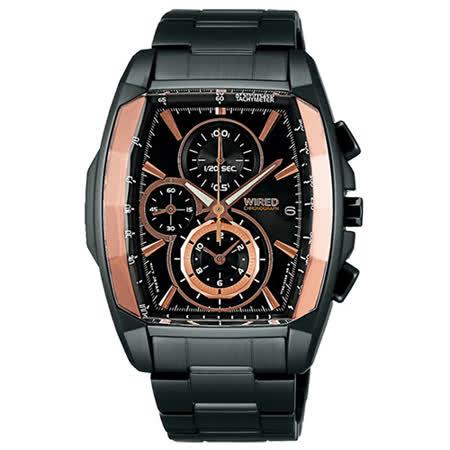 WIRED-Reflection系列積極行動炫光三眼計時腕錶-42mm-7T92-X263K(AF8T57X1)
