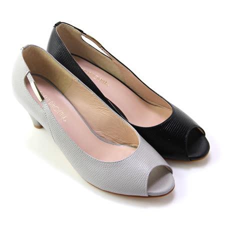 【GREEN PHOENIX】金屬邊條皮革壓花紋全真皮低跟魚口鞋