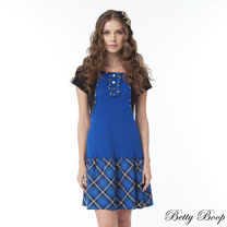 【Betty Boop貝蒂】假兩件小荷葉邊拼接格紋洋裝(共二色)