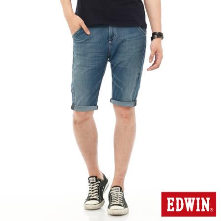 EDWIN 迦績褲JERSEYS單車牛仔短褲-男-石洗藍