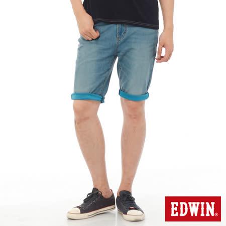 EDWIN 迦績褲JERSEYS內藏腰頭牛仔短褲-男-中古藍